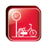 Square button bicycle parking area Stock Image