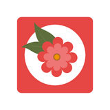 Square button with bloom and leaves Stock Photo