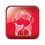 Square button call center operator with handset. Vector illustration Royalty Free Stock Image