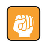 Square button with closed fist front view Stock Image