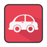 Square button colorful silhouette with small automobile Royalty Free Stock Images