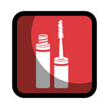 Square button with eyelash makeup beauty product Royalty Free Stock Image