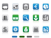 Square button of Finance and Banking icons. Isolated square button of simple Finance and Banking icons set from white background Royalty Free Stock Photos