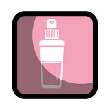 Square button with glass bottle spray fragrance Royalty Free Stock Photo