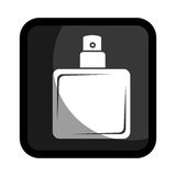 Square button with glass bottle spray lotion Stock Photos