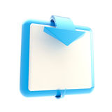 Square button with glossy arrow. Square blue button with glossy arrow isolated on white royalty free illustration