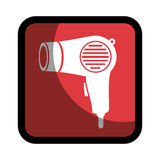 Square button hairdryer utensil hairstyle Royalty Free Stock Photos