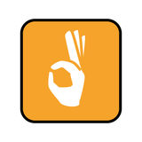 Square button with open hand in peace signal. Vector illustration Royalty Free Stock Photography