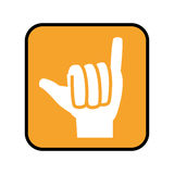 Square button with open hand in shaka signal Stock Photos