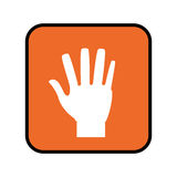 Square button with open hand. Vector illustration Stock Photography