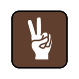 Square button with open hand in victory signal Royalty Free Stock Images
