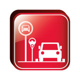 Square button parking area for vehicles with parking meter Stock Photos