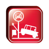 Square button parking prohibited sign Royalty Free Stock Photo