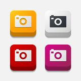 Square button: photo Royalty Free Stock Photos