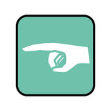 Square button with pointing hand with a finger. Vector illustration Stock Photography