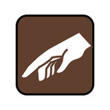 Square button with pointing hand. Vector illustration Royalty Free Stock Photos