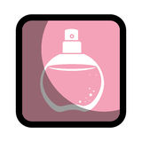 Square button with rounded glass bottle spray fragrance Stock Images