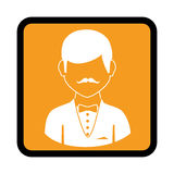 Square button with silhouette elegant man. Vector illustration Stock Photography