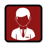 Square button with silhouette executive man Royalty Free Stock Images
