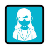 Square button with silhouette executive woman Stock Image