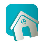 Square button and simple facade house icon design Stock Photography