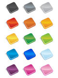 Square Buttons 3D. Large 3D looking square buttons in various colors with rounded edges stock illustration