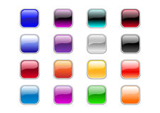 Square buttons. Vector illustration of modern, shiny, square buttons vector illustration