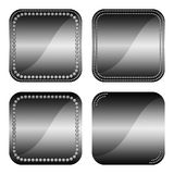 Square buttons with diamonds. Set of elegant square black web buttons with gem stones Stock Photography