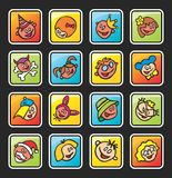 Square buttons with faces of children Royalty Free Stock Images