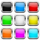 Square buttons. Glass colored icons with chrome frame. Vector 3d illustration royalty free illustration