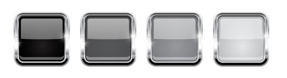 Square buttons. Gray glass 3d icons with metal frame. Vector illustration isolated on white background vector illustration