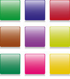 9 Square Buttons. Large square buttons in various colors with rounded edges. Reflection placed on separate layer for ease of use royalty free illustration