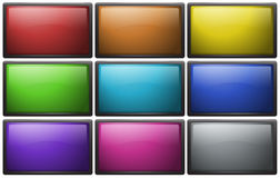 Square buttons in nine colors. Illustration royalty free illustration