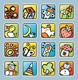 Square buttons with pictures Stock Photography