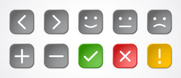 Square buttons with symbols Stock Photo
