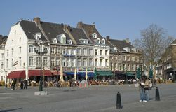 Square with cafes in Maastricht Royalty Free Stock Photography