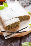 Square cake with poppy seeds and orange zest Stock Photos
