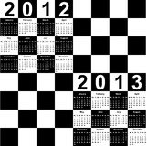 Square calendar for 2012 and 2013. In form of chess board Royalty Free Stock Image