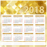 Square calendar 2018. Golden background. Vector graphics Royalty Free Stock Photography