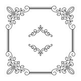 Square calligraphic frame in retro style on white Royalty Free Stock Image