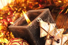 Square candle at christmas Royalty Free Stock Photography