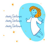 Square card with an angel4 Stock Photography