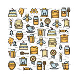 Square card with apiary elements thin line colored icons set Royalty Free Stock Photos