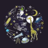 Square card template with the image of cosmic elements. Circular composition. Space objects. stock illustration