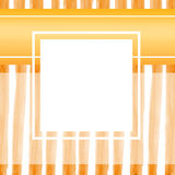 Square card Wide orange wave stripes. CARD with place for your text.  White square frame on background with orange wave stripes Stock Photos
