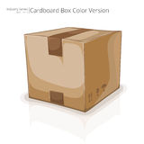 Square cardboard box. 3d illustration of a square brown cardboard box on a white background Stock Image