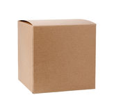 Square Cardboard Gift Box. Isolated on white. It includes a clipping path. The image is in full focus, front to back Stock Photo