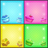 Square cards with cakes Royalty Free Stock Photography