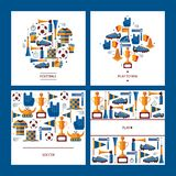 Square cards dedicated to soccer game with football elements like ball, winner cup, boots, vuvuzela, fan and player accessories an stock illustration