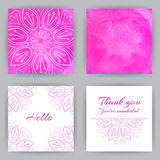 Square Cards With Pink Lotus Stock Photography